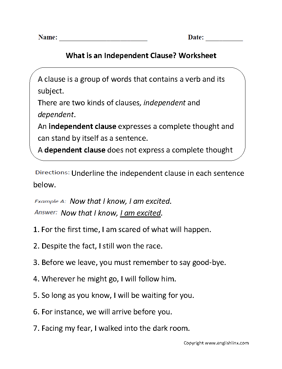 small resolution of Independent Dependent Clause Worksheet - Worksheet List