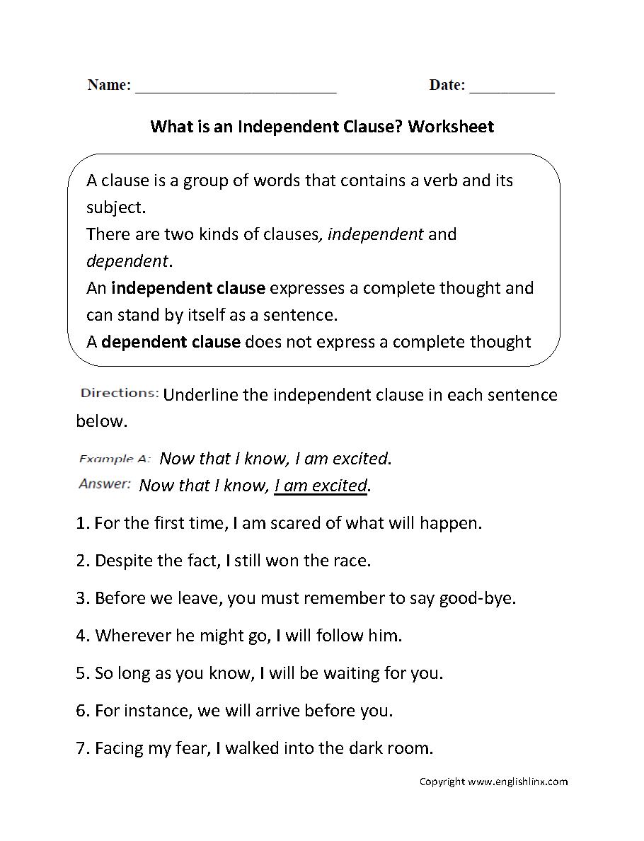 hight resolution of Independent Dependent Clause Worksheet - Worksheet List
