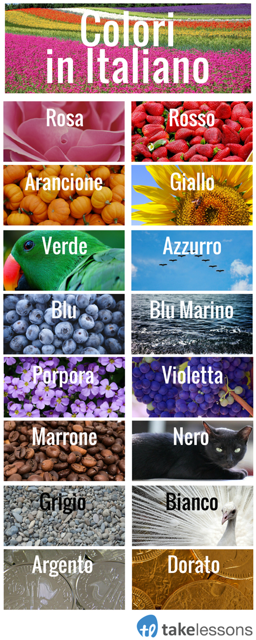 English In Italian: Beginner's Introduction To Italian Colors (Infographic