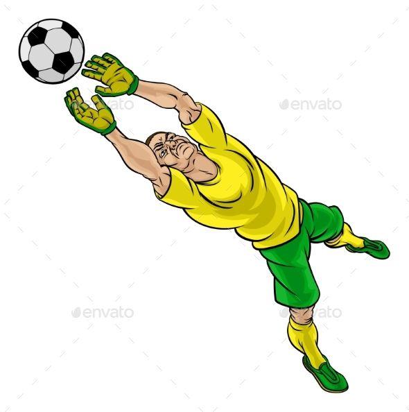 Cartoon Soccer Football Goalkeeper Player Goalkeeper Football Illustration Soccer