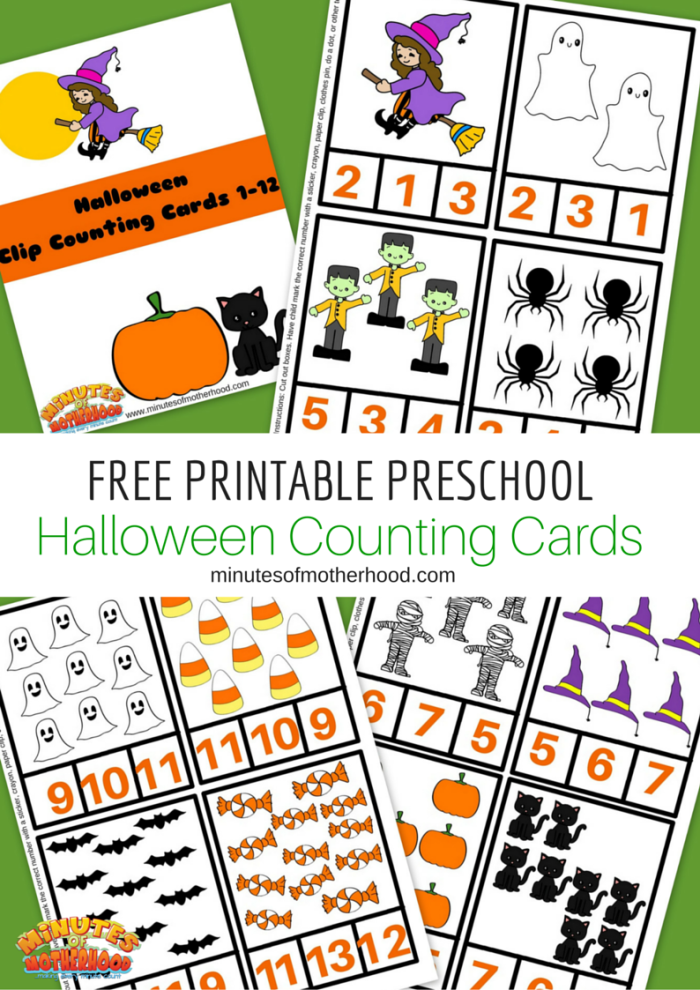 Halloween Preschool Free Printable Clip Counting Cards 1