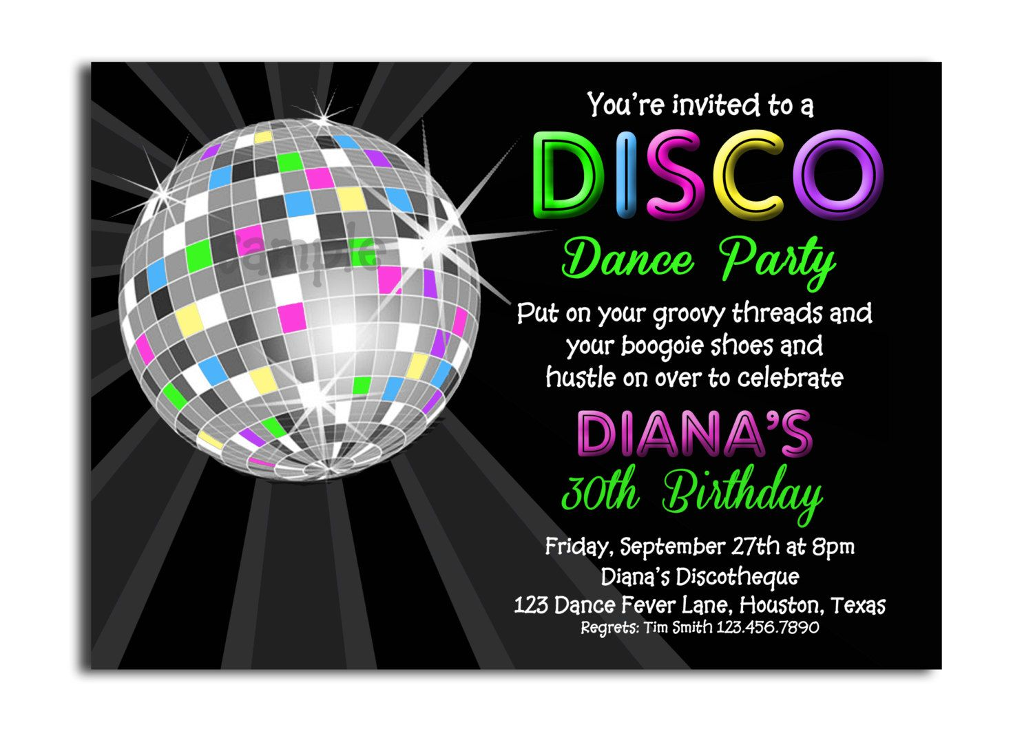 Disco Ball Neon Invitation Printable or Printed with FREE SHIPPING ...
