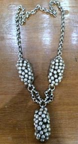 vintage ethnic tribal old silver pendant chain necklace antique jewelry -110