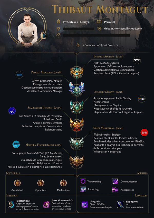 resume esport for gamer league of legends    cv esport pour joueur de league of legend