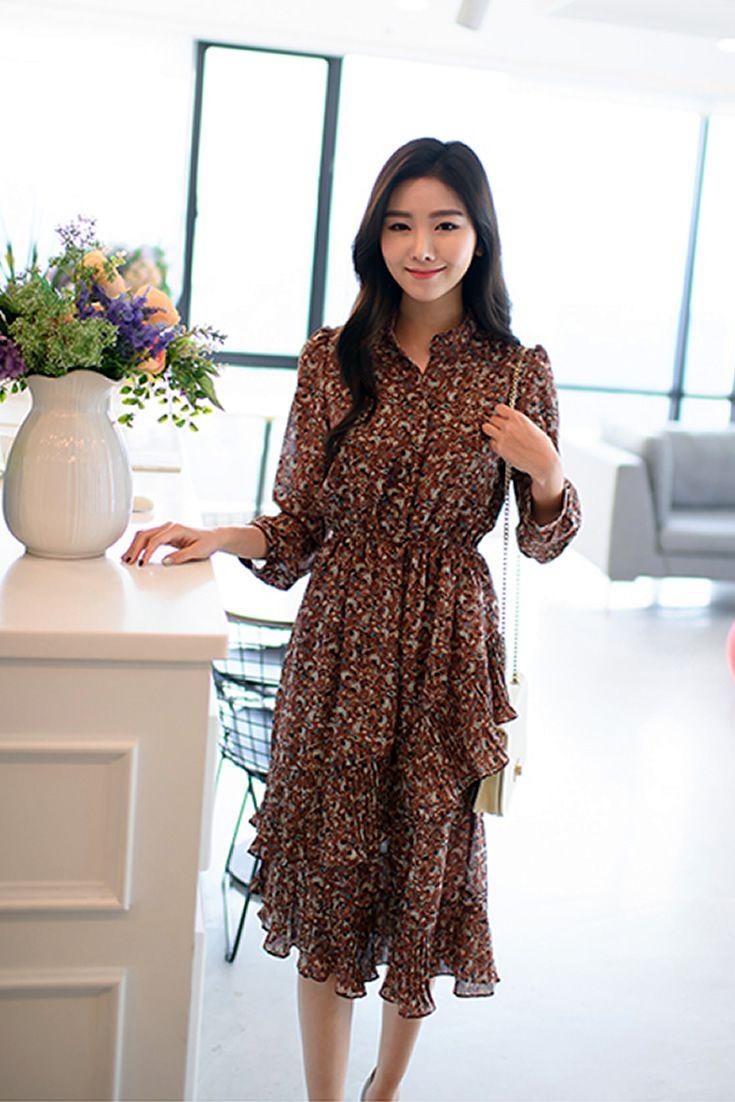 Floral Dress South Korea Airport Fashion Kpop Drama Korean Women