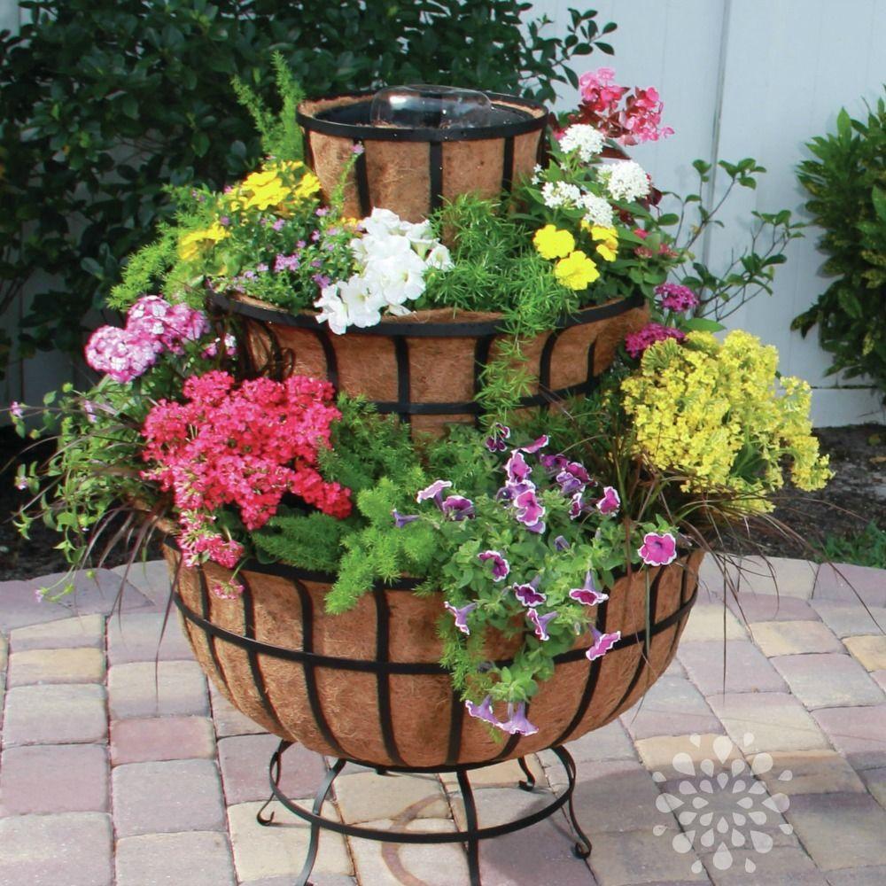Water Fountain Planter 3 Tier Flower Pot Patio Porch Decor Garden ...