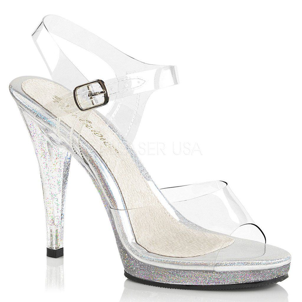 b4ed27ba0fc FLAIR-408MG Fabulicious Sexy Shoes 4 1 2 Inch Stiletto Heel Ankle Strap  Glitter