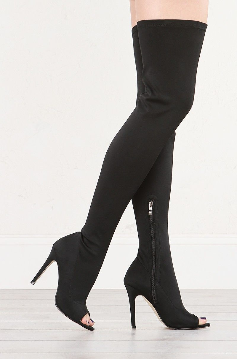 3d01f44fc39 Side View Stretchy Nylon Peep Toe Thigh High Boots in Black | Akira ...