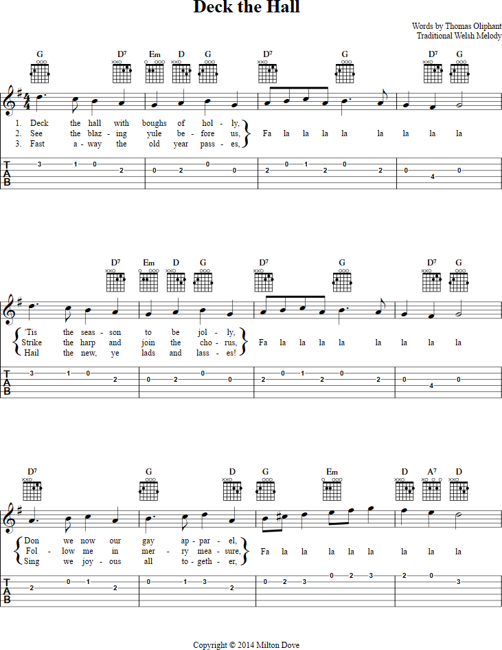 Deck The Hall Guitar Tab Page 1 View The Whole Song At Http