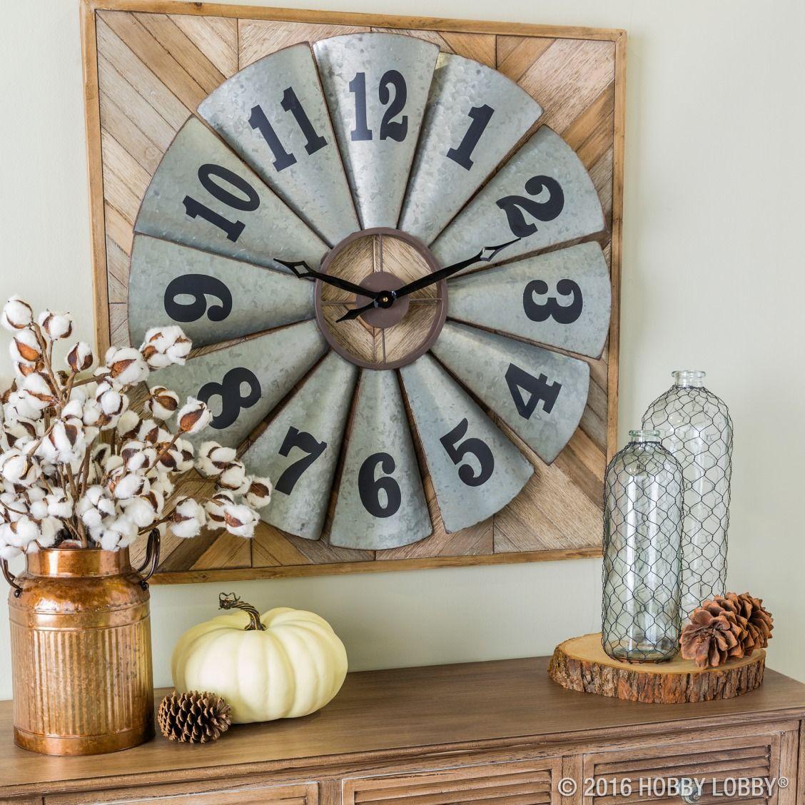 Galvanized windmill metal wall clock hobby lobby