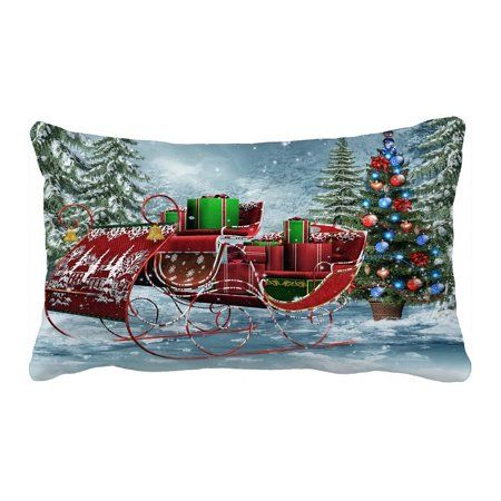 ECZJNT Vintage sleigh Christmas gifts Pillow Case Pillow Cover Cushion Cover 20x30 Inch