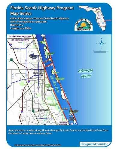 Indian River Florida Map.The Indian River Lagoon Treasure Coast Scenic Highway Brevard