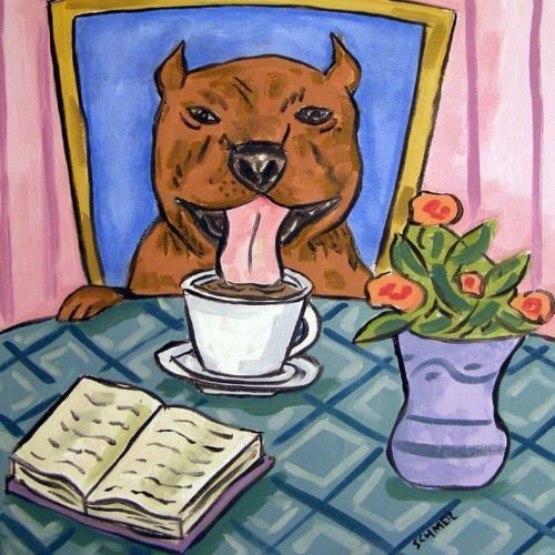 pit bull terrier coffee animal coaster dog art tile