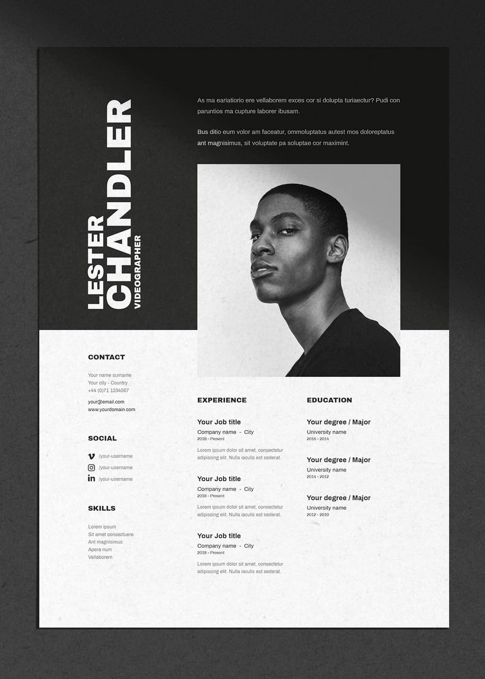 Lester | CV / resume template + cover letter for Word, Photoshop & indesign