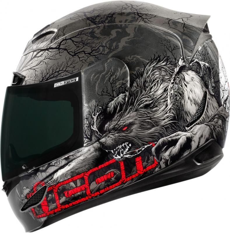 Icon Helmet Airmada Thriller Wolf Grey Motorcycle Riding