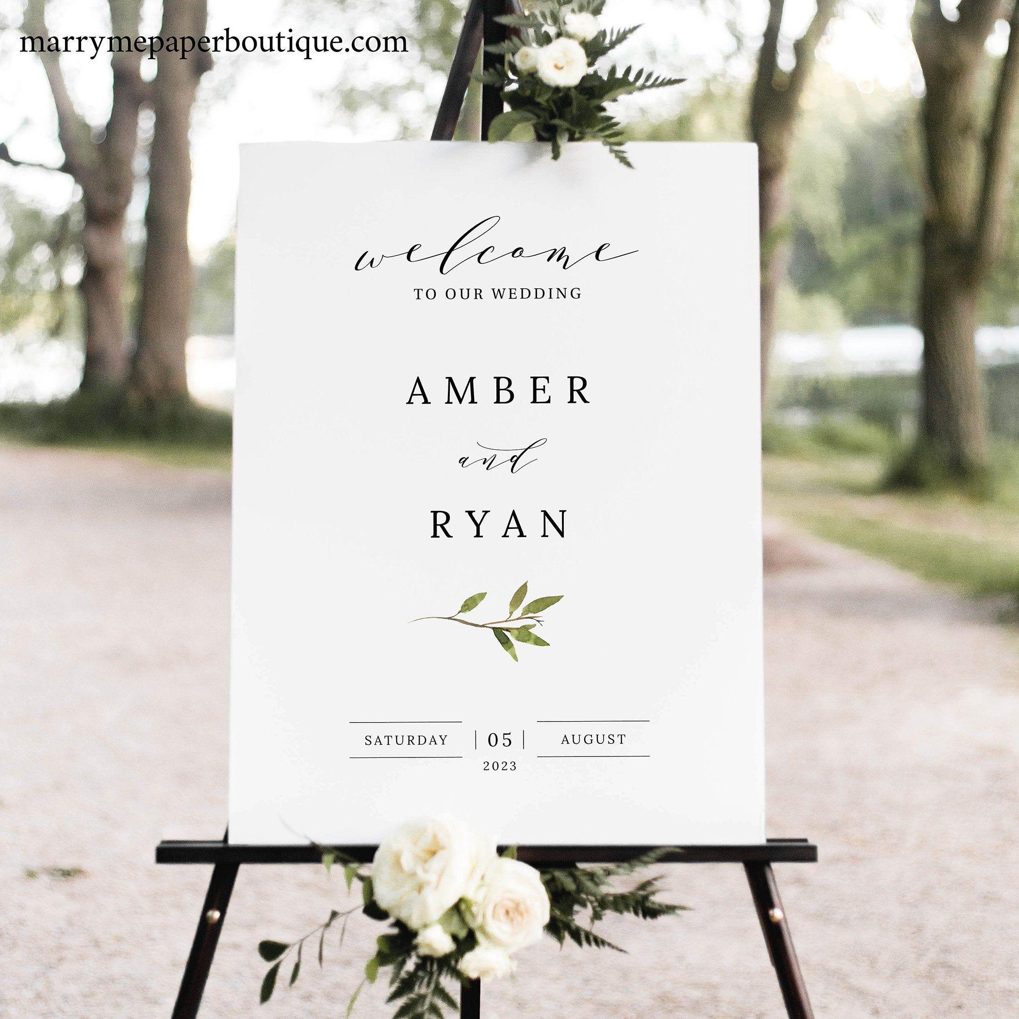 INSTANT DOWNLOAD Greenery Wedding Welcome Printable Wedding Welcome Sign 100/% Editable Welcome To Our Wedding