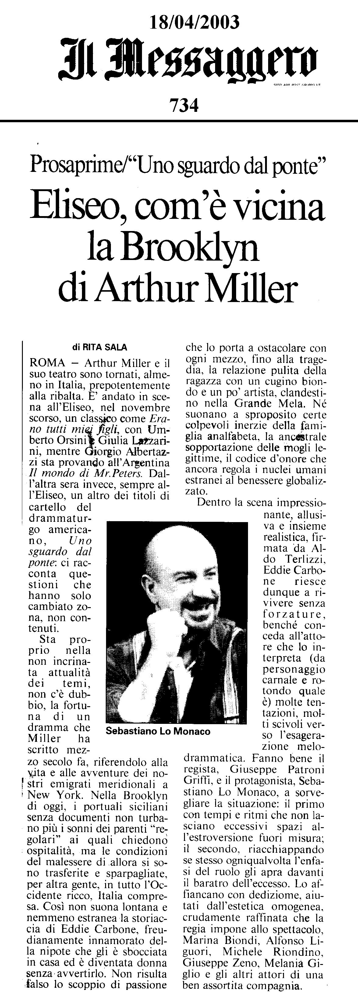 """18 aprile 2003 - Il Messagero - Rita Sala su """"Uno Sguardo dal Ponte"""""""