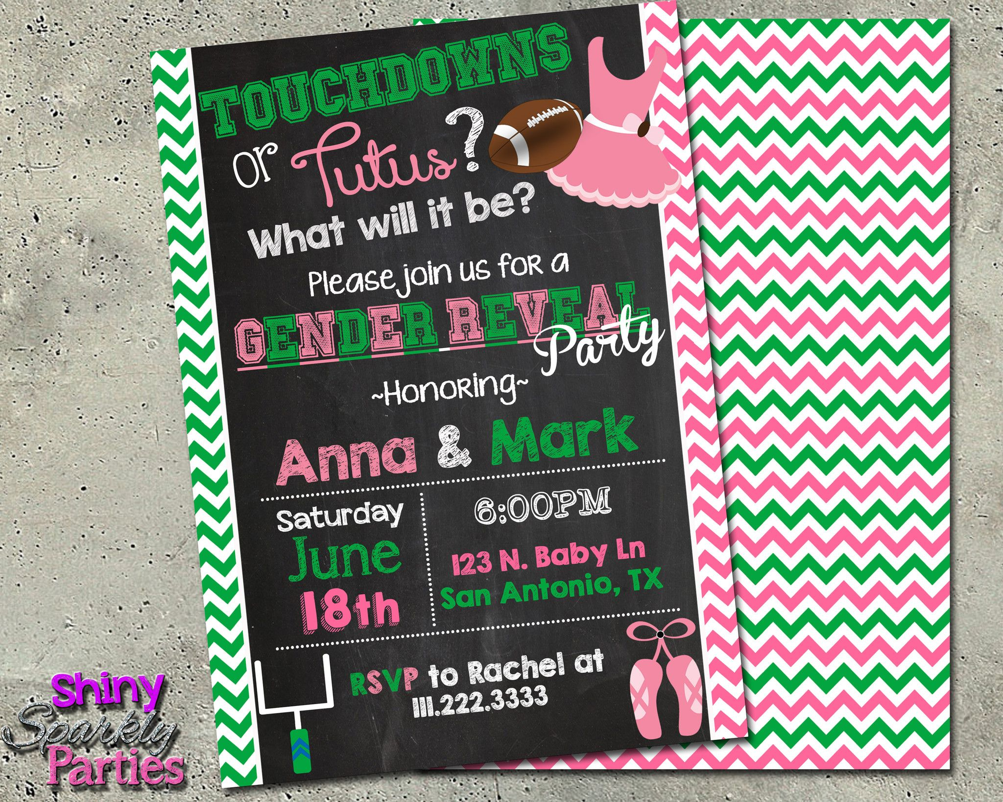 Printable Touchdowns Or Tutus Gender Reveal Party Invitation ...