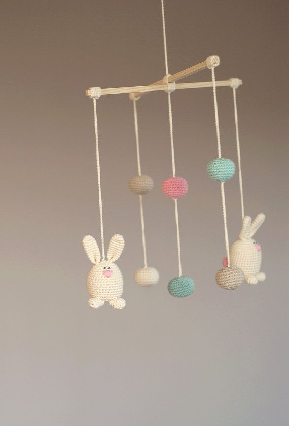 Crochet Bunny/Ball Mobile   Baby Ivory/pink/mint Green/beige Mobile    Crochet Hanging Crib Mobile Kids Room Decoration Perfect Gift For Baby |  Sonhos E ...