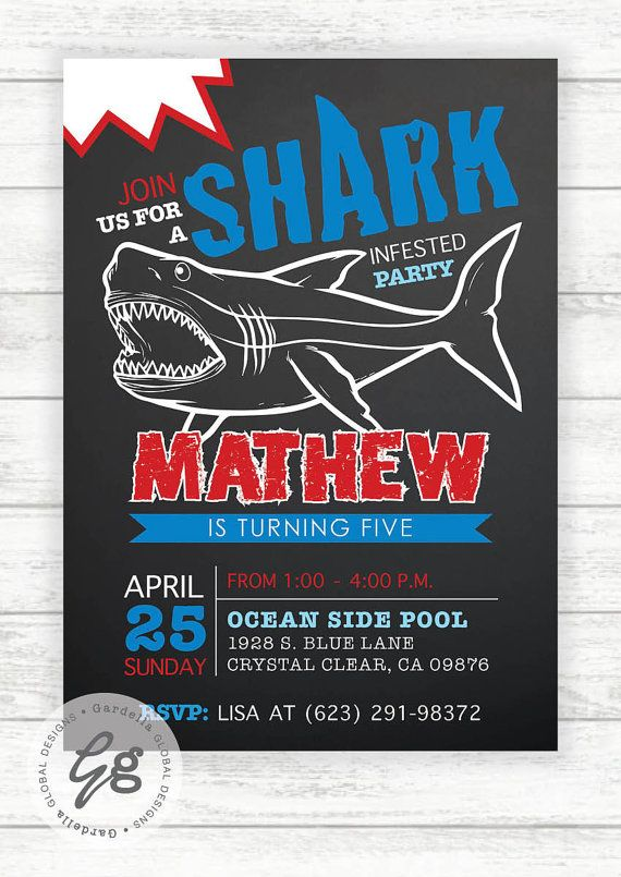 Shark invitation shark invite shark party pool party pool party shark birthday party invitation order yours at boardman printing filmwisefo