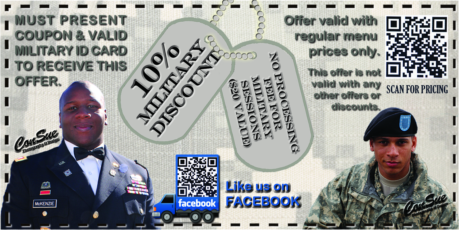 Military discount requires valid military ID & coupon