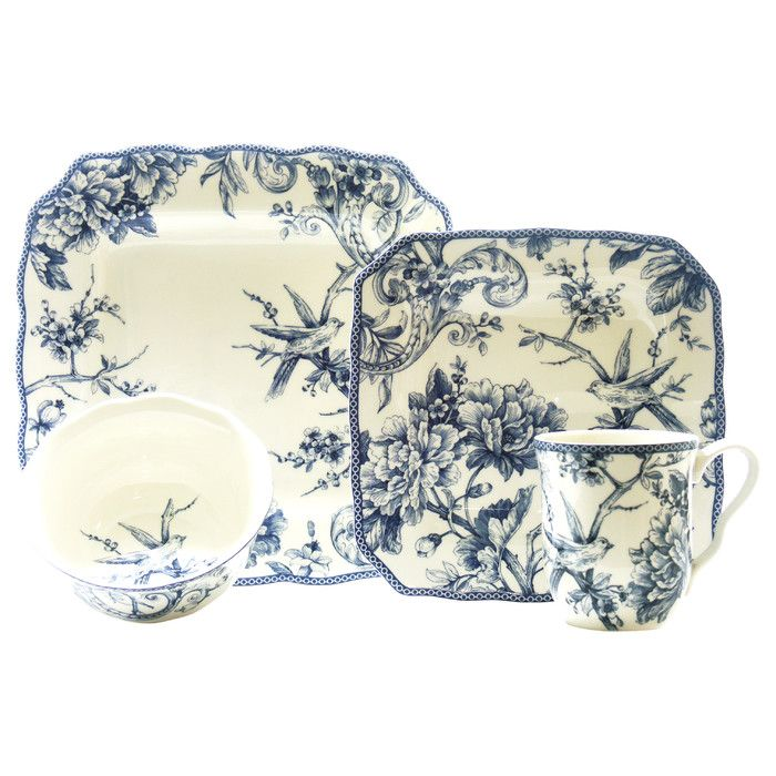 222 Fifth Adelaide 16 Piece Dinnerware Set in Blue & Reviews ...