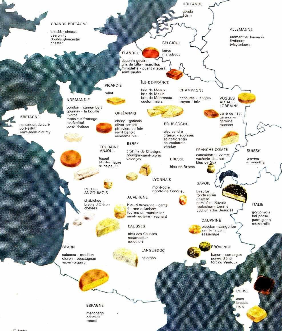 carte de france des fromages - Image