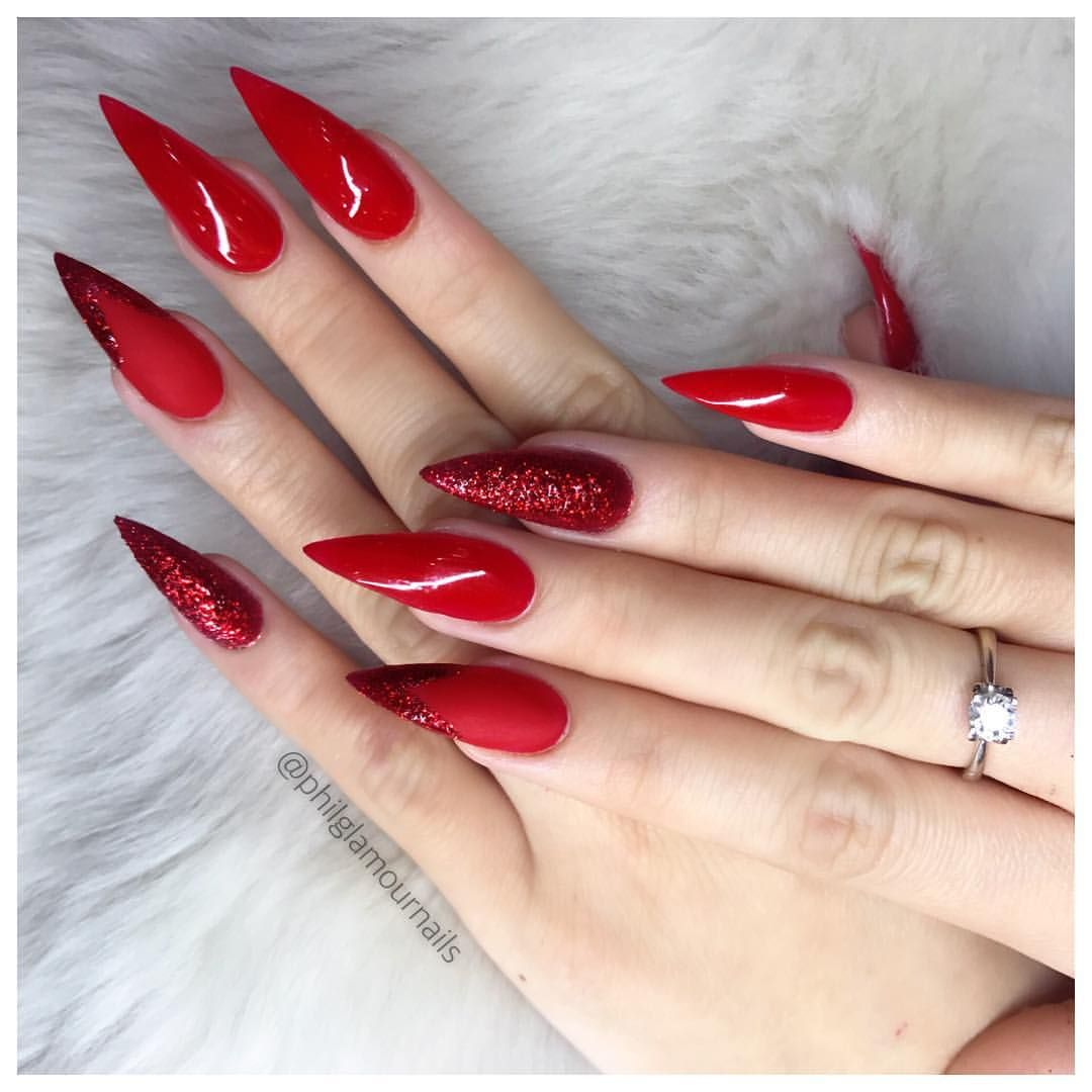 Red Glam Nails For Hollidays Philglamournails Philnails Beverlyhills La Ca Luxury Beautybl Red Acrylic Nails Acrylic Nails Stiletto Fall Acrylic Nails
