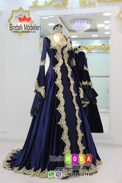 Kaftan Kadife T3502 Lacivert The Dress Elbise Dugun Aksamustu Giysileri