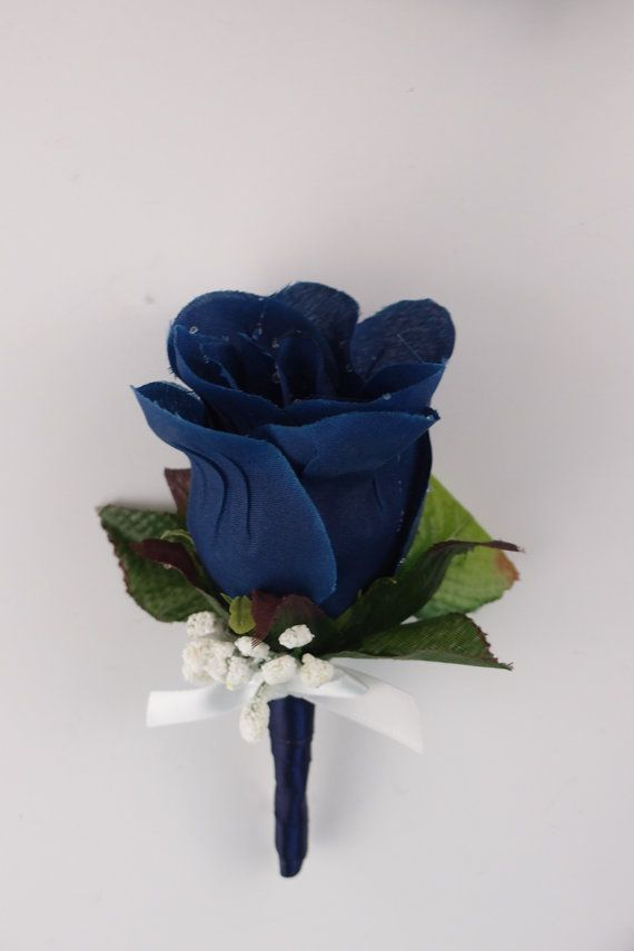 set of 2pc: Boutonniere and Pin Corsage Navy Blue White.Wedding,Prom ...