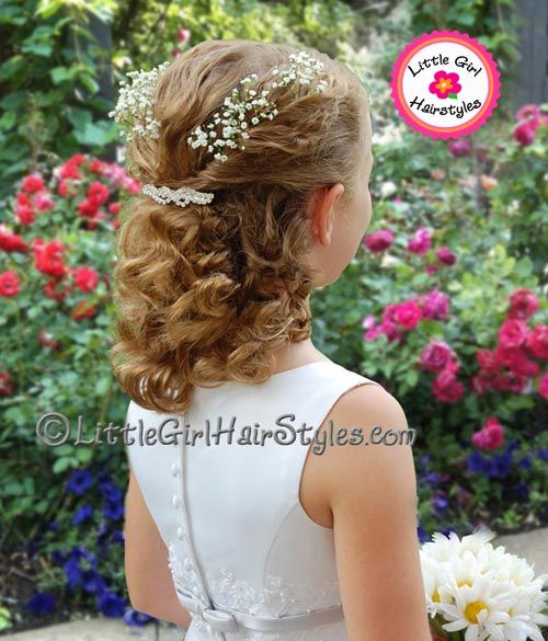 Flower Girl Twist Hairstyle With Babies Breath Flower Girl