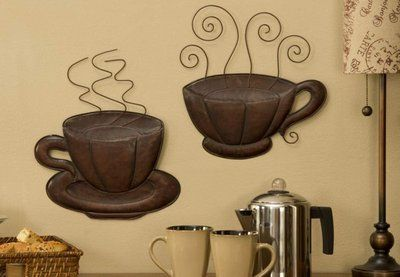Coffee House Themed Kitchen Decor Steaming Coffee Cup Plaques Pair Brown Java Deco