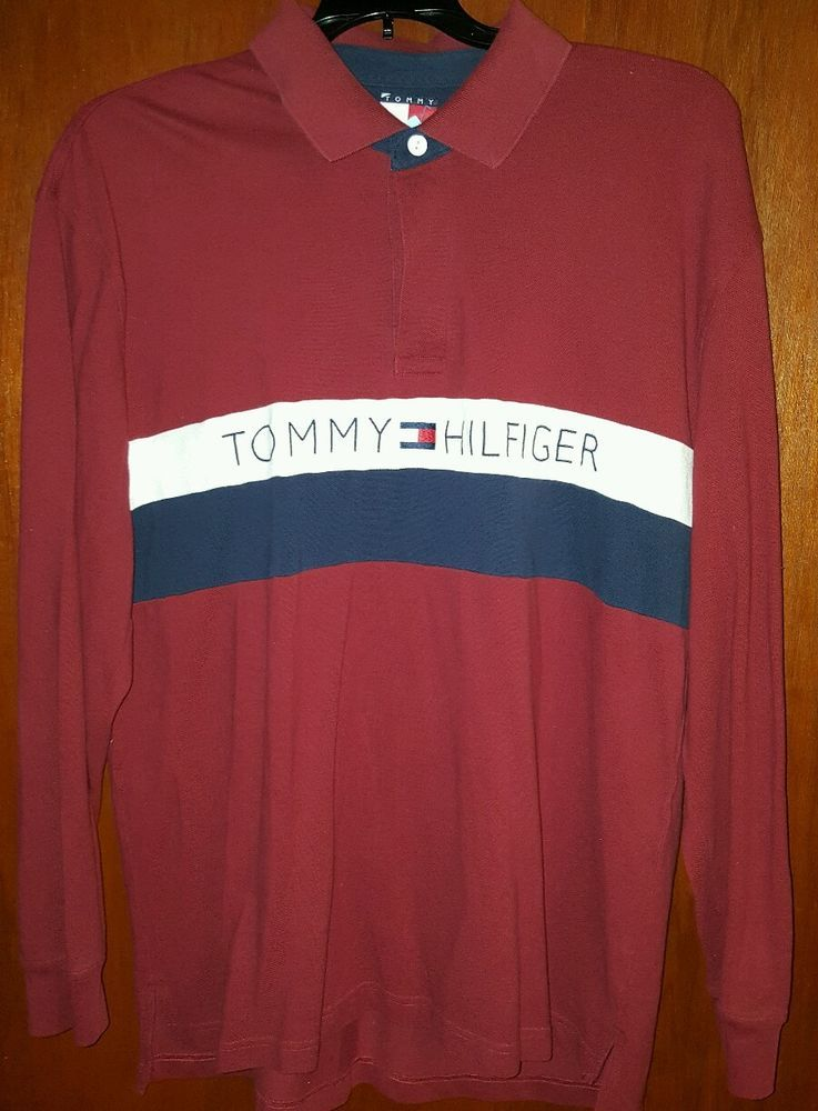 Vintage Tommy Hilfiger Spell Out 90s Polo Long Sleeve XL