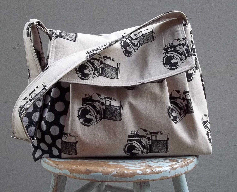 Camera Bag LARGE Purse Large Adjustable Strap Hard Bottom Padded Five Pockets