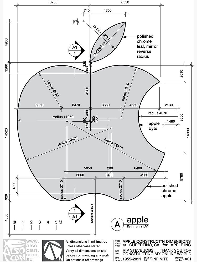 Apple Construction Dimensions Poster in 2020 Apple