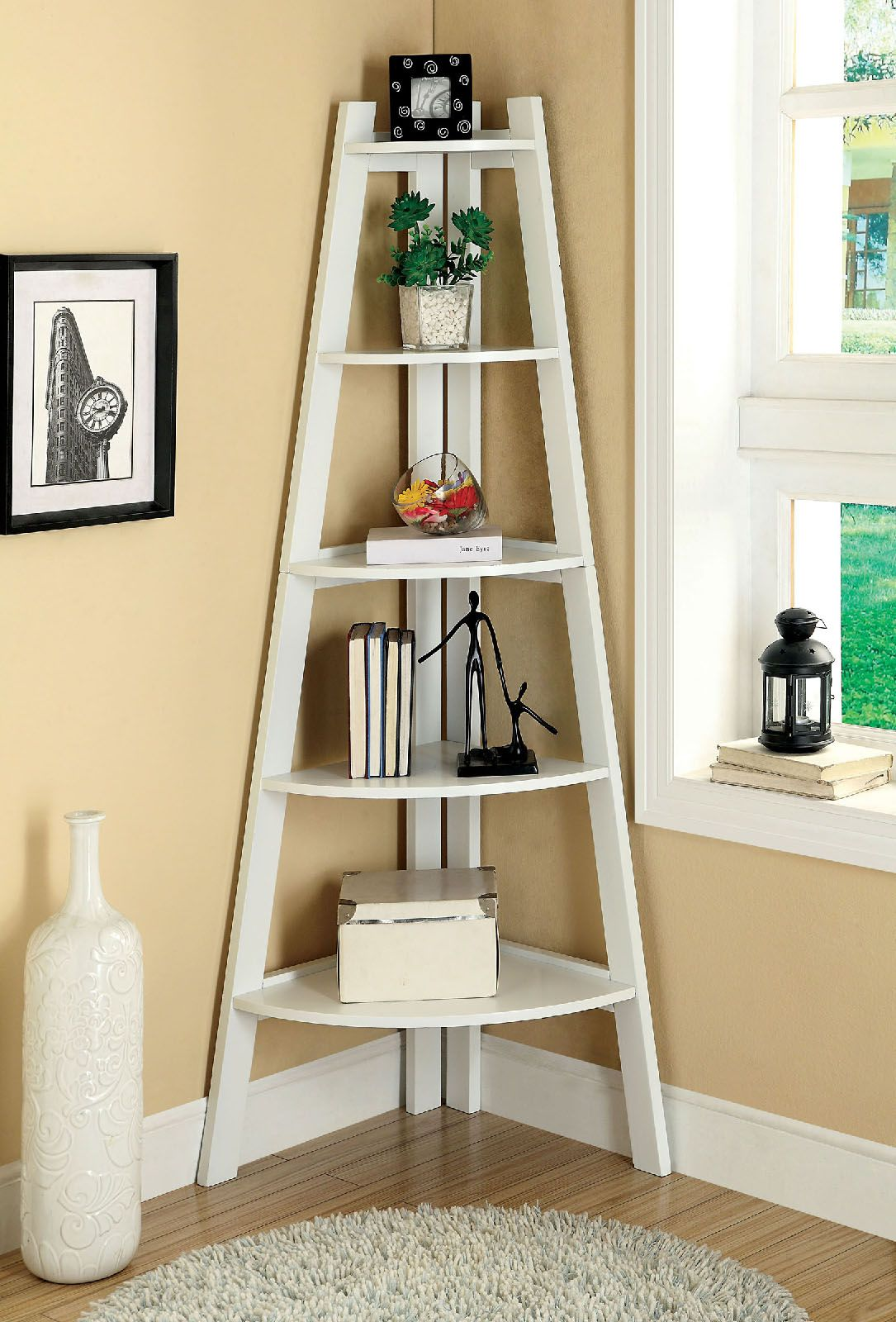 Furniture Of America CM AC6214WH Contemporary Corner 5 Tier Ladder Shelf Bookcase In White Finish