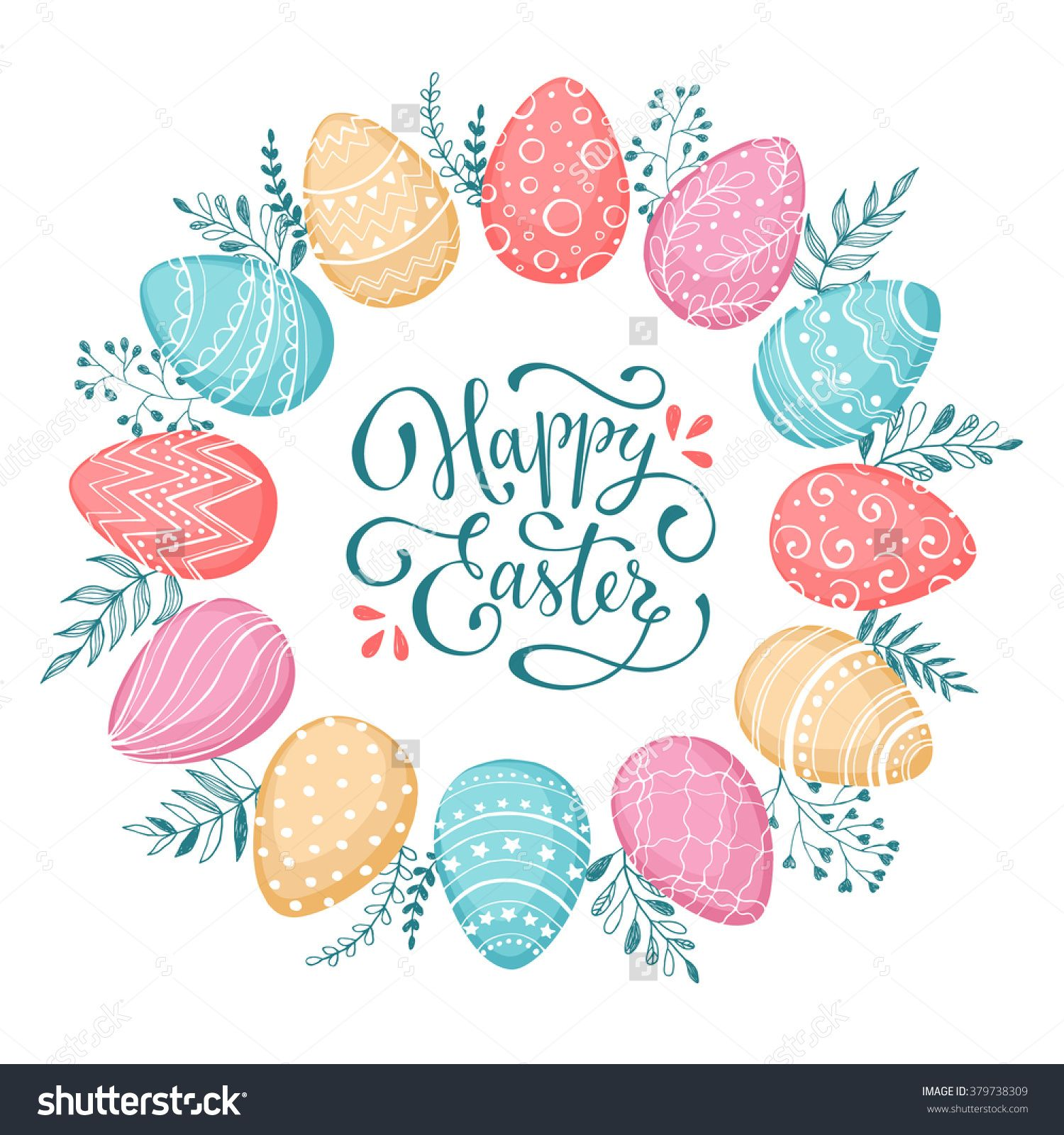 Photo of Easter Wreath Easter Eggs Hand Drawn Stock Vector (Royalty Free) 379738309