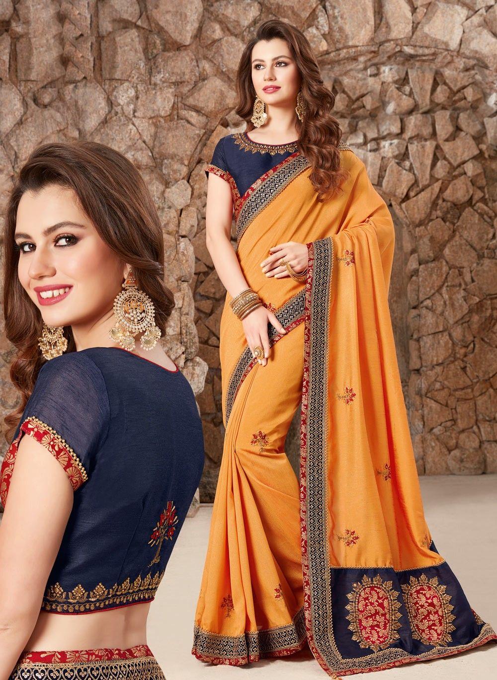 e5abf0502f Stylish Indian Latest Saree Designs 2019 With Beautiful Blouse Patterns