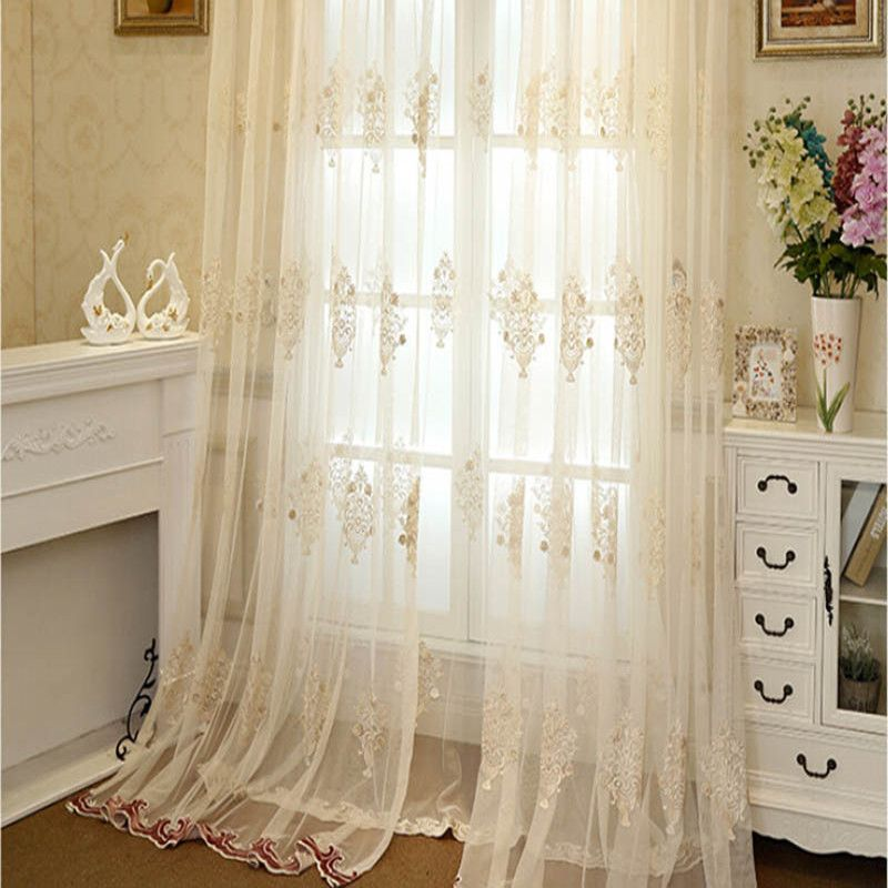 Luxury European Embroidered Sheer Tulle Curtains For Living Room Transparent Red Yellow Bottom Tulle Curtainsfor B Curtains Living Room Curtains Tulle Curtains