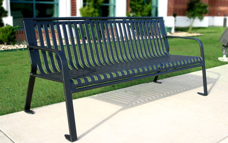 Belson Gallery Ms6wb P 6 Ribbed Steel Park Bench With Back Portable Surface Mount Park Bench Bench Blue Velvet Dining Chairs