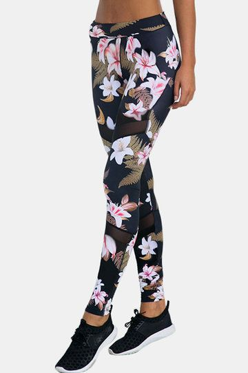 7dbf2e7dae7c2b Active Random Floral Print Quick Drying High-waisted Leggings - US ...