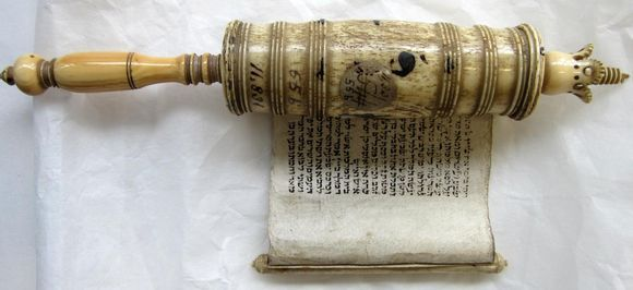Esther scroll in decorative case - this is one of the 74 scrolls we are currently imaging as part of the Hebraic Manuscript Digitisation Project. Read more on our Collection Care blog.