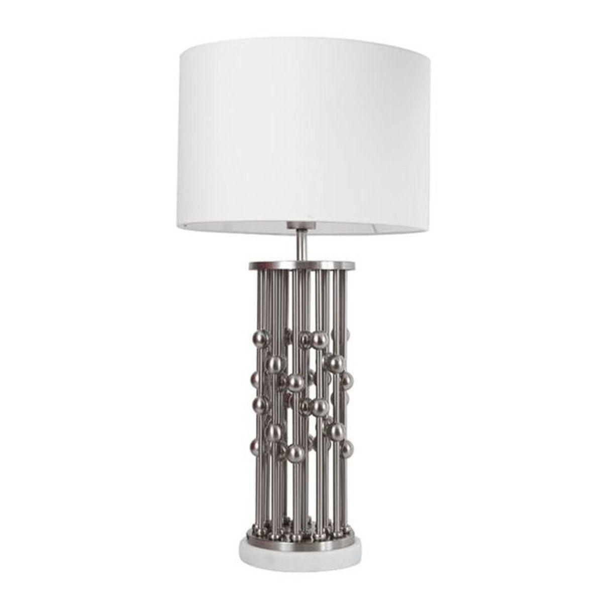 Lampe Pied En Metal Boules Sur Colonnes Gris Et Blanc H65cm Gris Blanc Gris Et Blanc