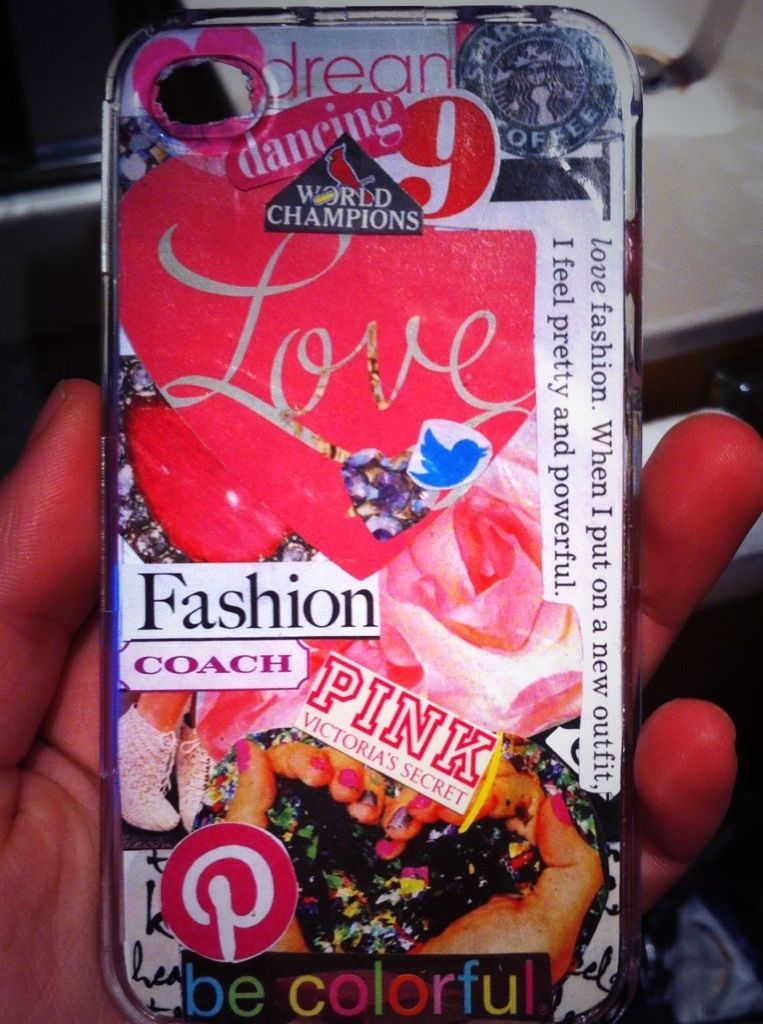 This is soo cool! A clear iPhone case, words from magazines, and some glue!