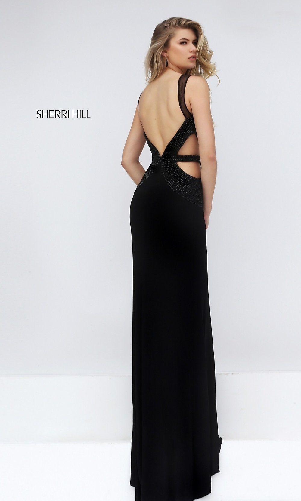Sherri Hill Long Black Open Back Dress Promgirl Prom Dresses Formal Dresses Ball Dresses [ 1666 x 1000 Pixel ]