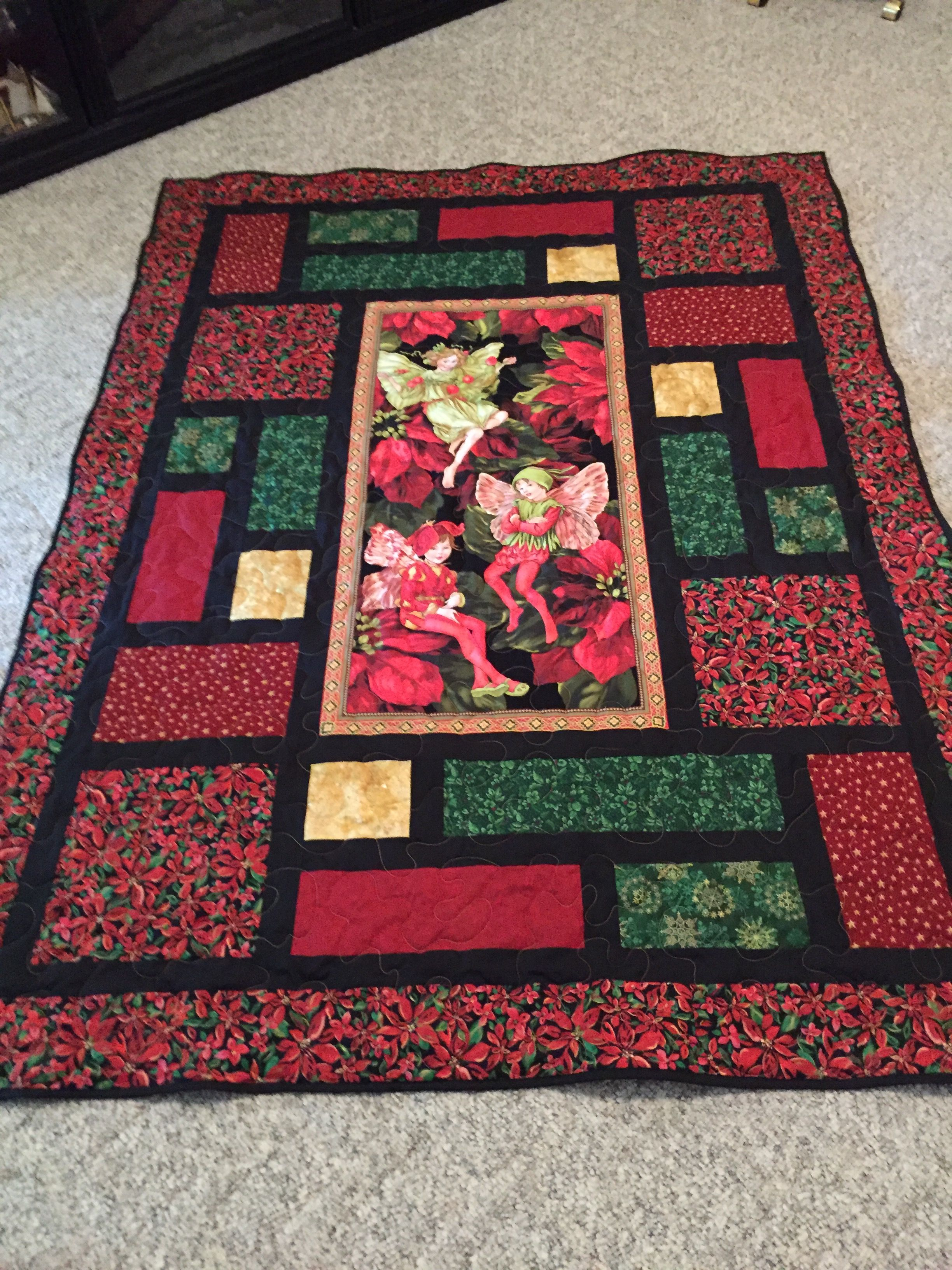 Holiday Flower Fairies throw | Panel quilts, Fabric panel ...