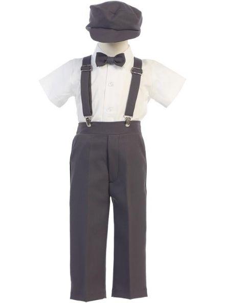511c3f02a28 Boys Charcoal Ring Bearer Pants   Suspenders Set  New  at DapperLads ...