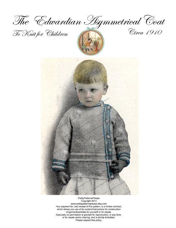 1910 Antique Knitting Pattern Childrens Jacket Sweater Pdf