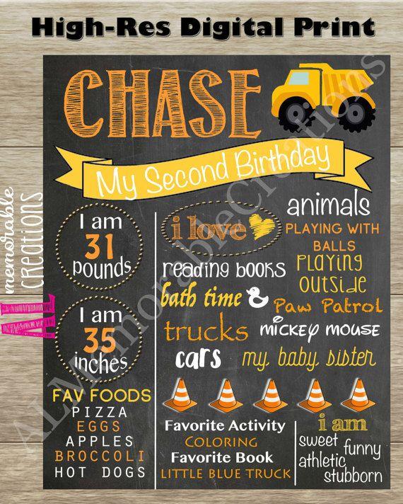 Construction Theme Birthday Chalkboard/Boy Birthday Chalkboard/Birthday Poster/Personalized Milestones/Custom Stats/Stat Board/Photo Prop