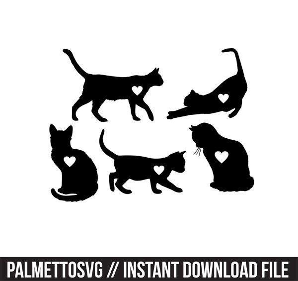 Download Cat hearts Svg, Cricut Cut Files, Silhouette Cut Files ...